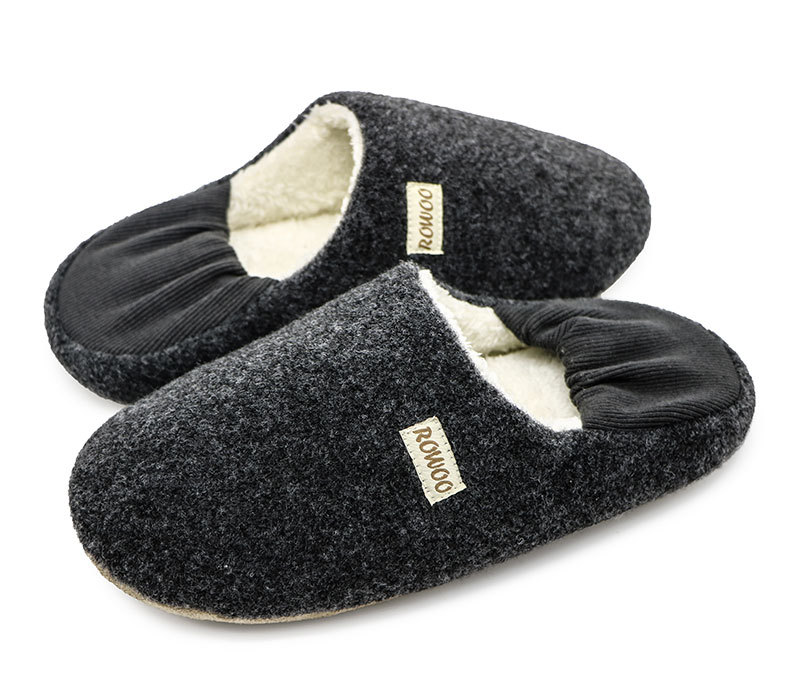 Unisex Hot Sale Grey Wool Slipper,Slip-on Slipper With Back Part