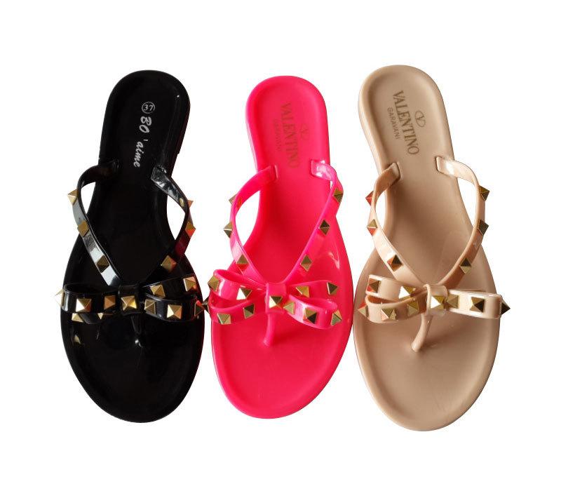 New Fashion China Wholesale Jelly Latest Women Flat Sandals with Rivet