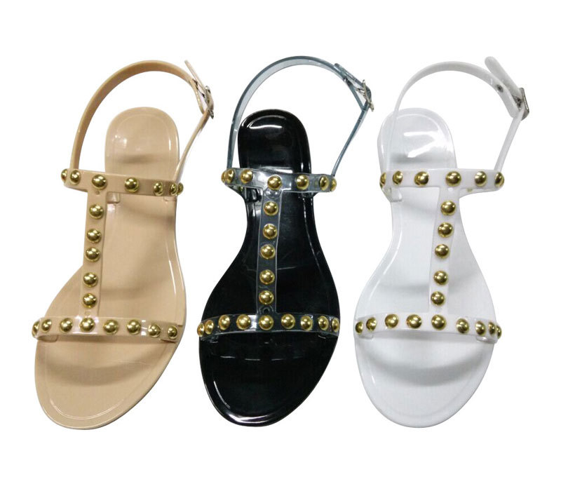 Latest Model Rivet Ornament PVC Women Slipper Sandals Wholesale