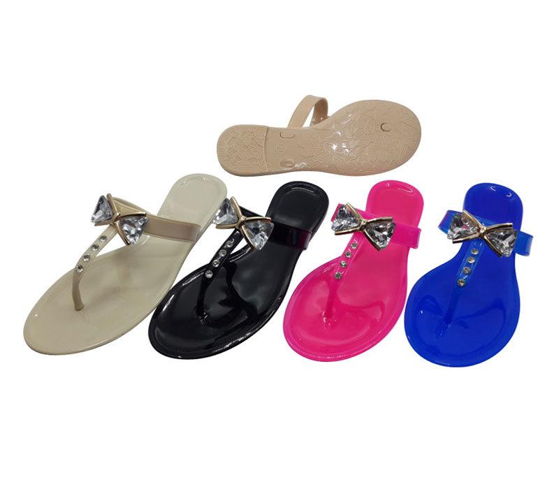 Women Flat Rivets Rain Jelly Shoes Flip-Flops Sandal for Summer