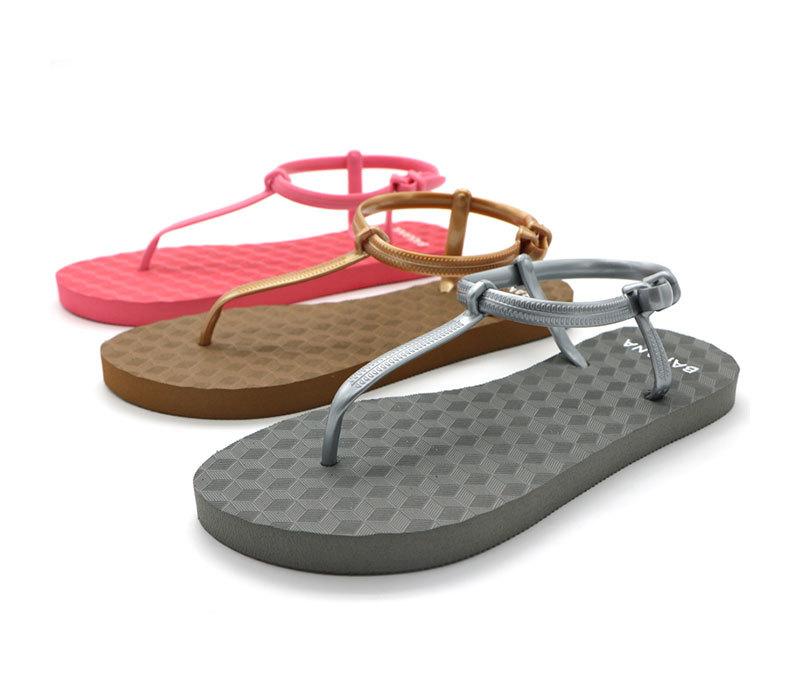 Women T-strap Rubber Flip Flops Sandals, Ankle Strap Roman Sandals