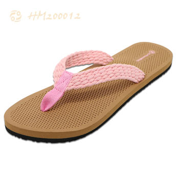 Wholesale Cloth Women Flip Flops Braided Thong Slipper