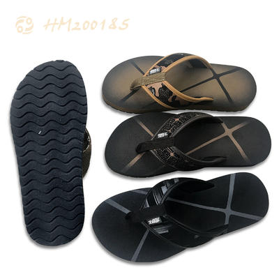 Custom Print PU Leather Flip Flops for Men Wholesale Price