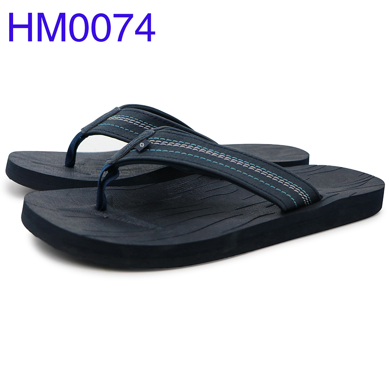 Wholesale Men Flip Flops PU Strap Leather Slippers