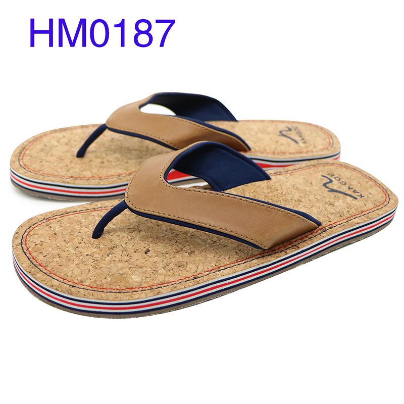 Rowoo mens leather flip flops factory price