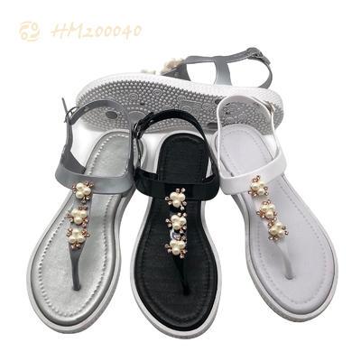 Women T Strap Flat Sandals Pearl Flip Flops Factory Price