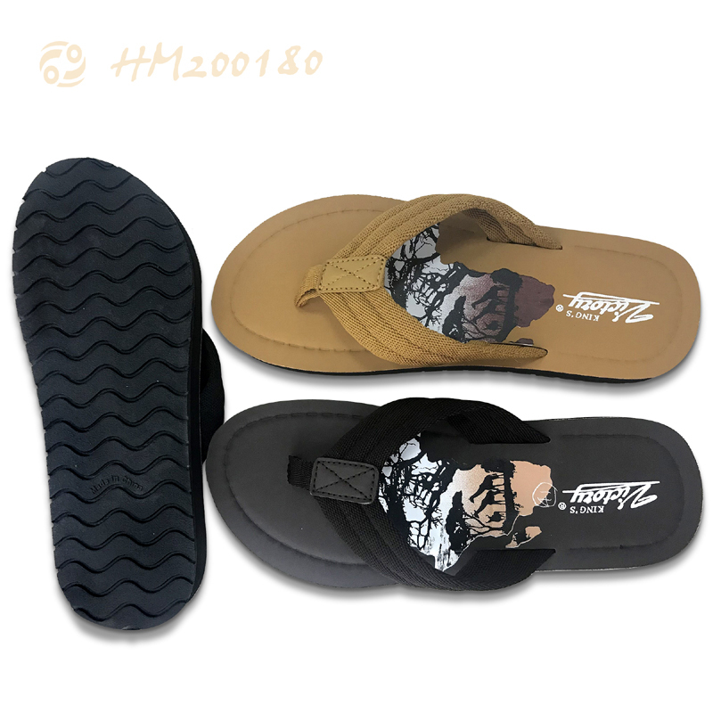 Men Print Lightweight Flip Flops Summer Slippers for Male HM200180