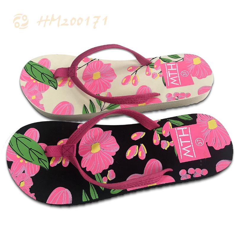 Wholesale Ladies Fashion Flip Flops Popular Floral Flat