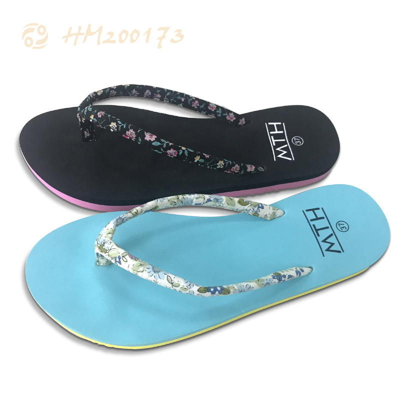 Custom Women Flip Flops Floral Strap  Slipper Wholesale