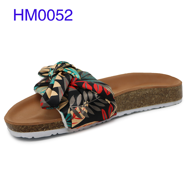 Women Sandals Cork Bow Slip On Slide Wholesale