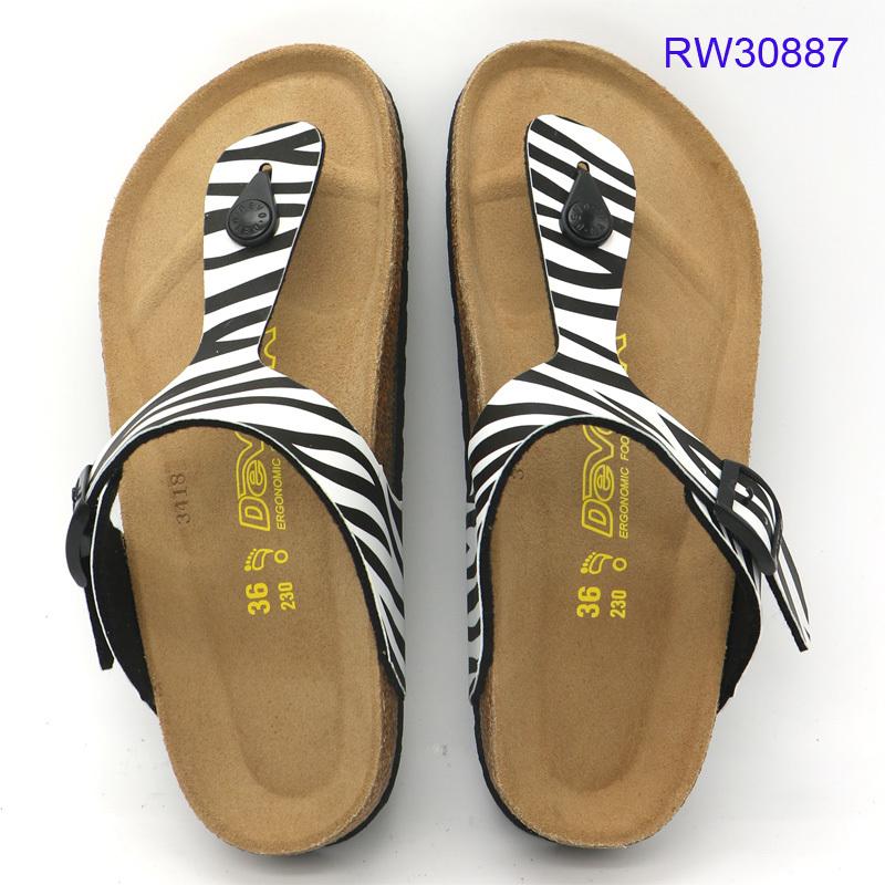 Wholesale Women Cork Sandals Strip Beach Flip Flops