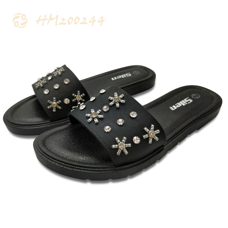 Women Slide Sandals Fashion Rhinestone Flowers Slippers