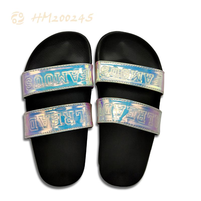 Women Slide Sandals Bling 2 Straps Flat Shoes