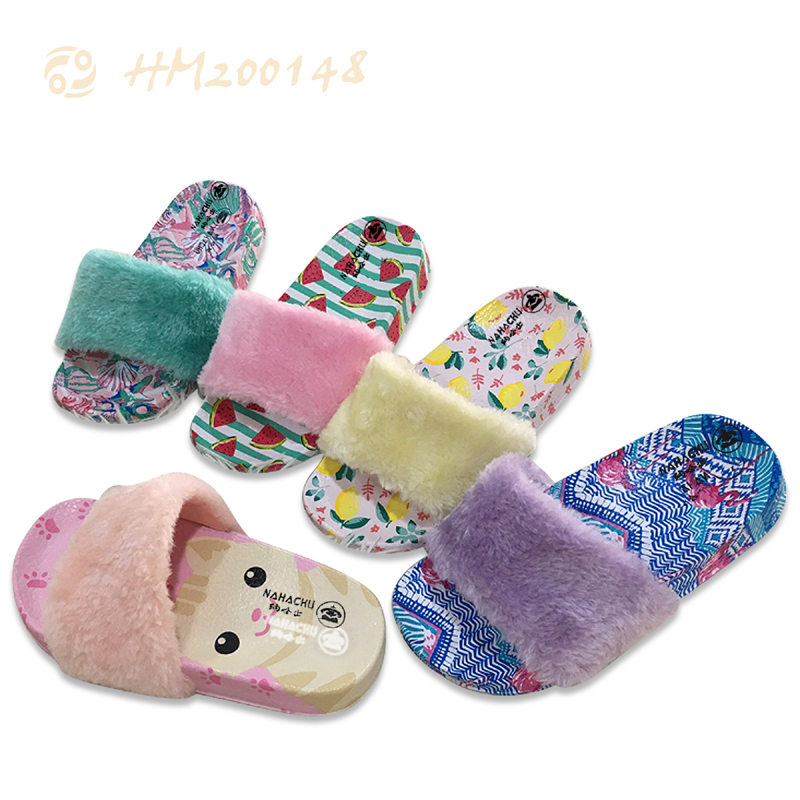 Wholesale Kids Fur Sandals Cute Slippers for Children Hot Sale