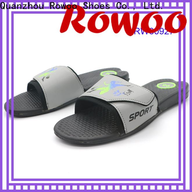 Rowoo popular mens leather slides hot sale