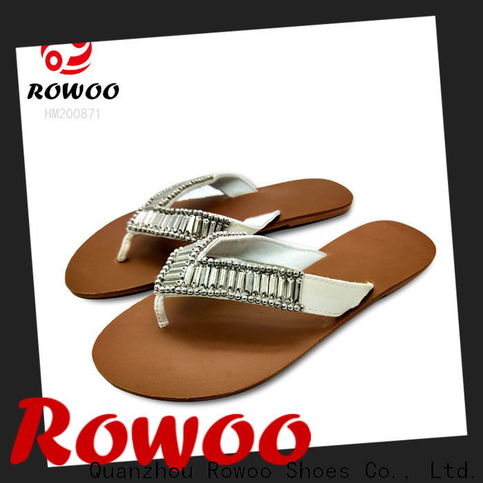 Rowoo ladies leather flip flops hot sale