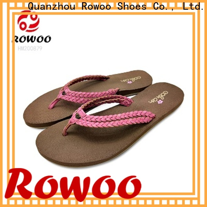 Rowoo Latest leather flip flops womens factory price