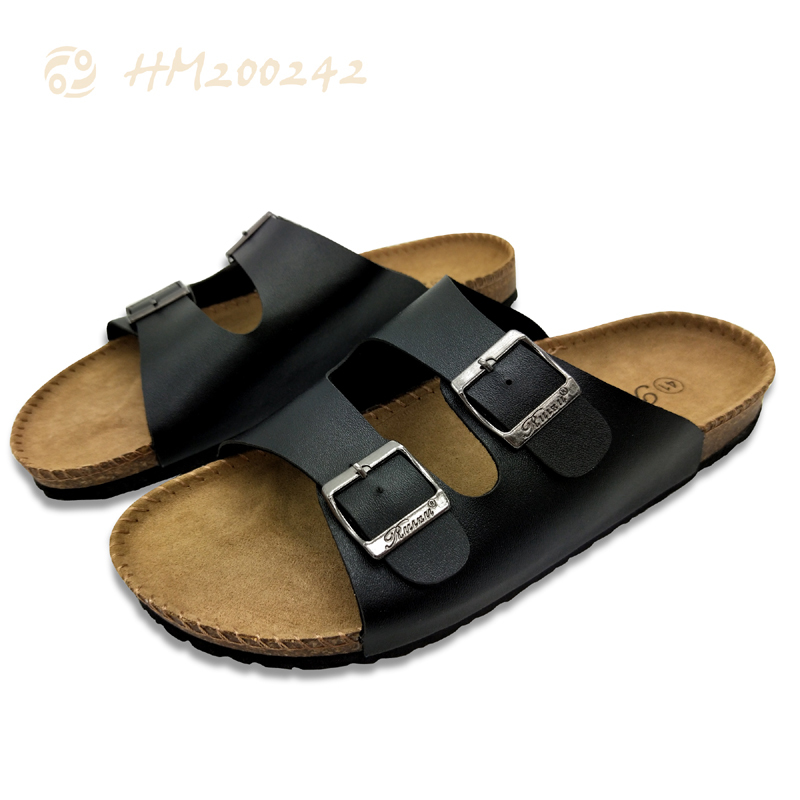 Unisex Cork Sandals for Beach Flat Buckle Slippers
