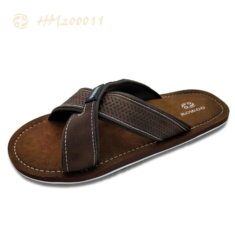 Men Slides Sandals, Cross PU Strap Sandals for Male
