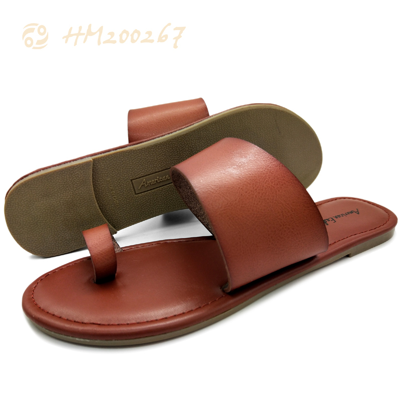 Women Leather Sandals Slip-on Casual Slipper Shoes