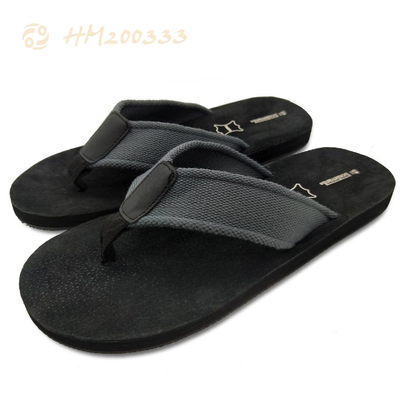Men Black Webbing Flip Flops, Factory Slipper Sandals for Male