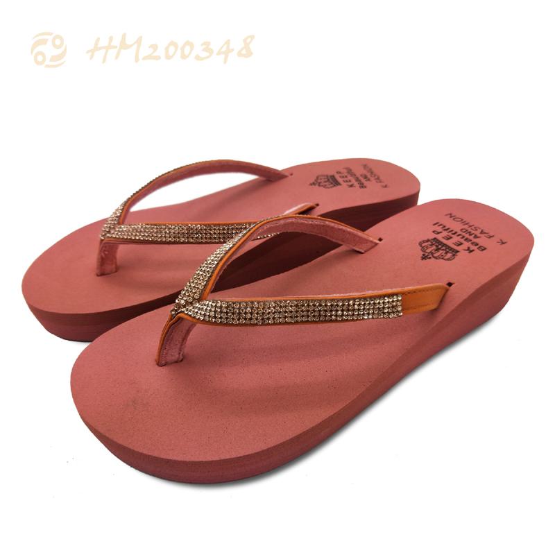 Women Wedge Sandals Rhinestone Strap Flip Flops Sandals