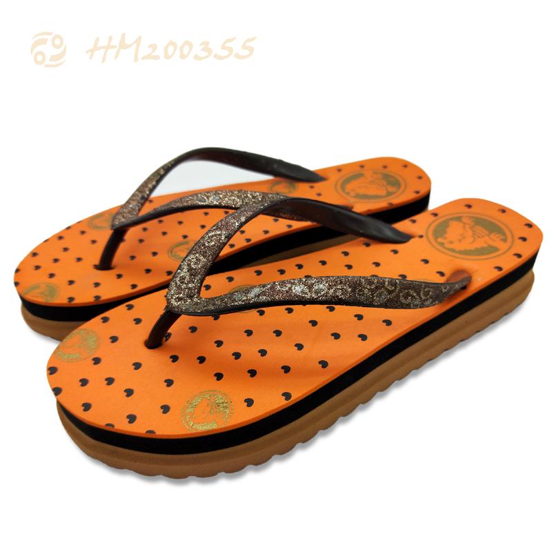 Customized Women High Platform Flip Flops Glitter Strap Slippers