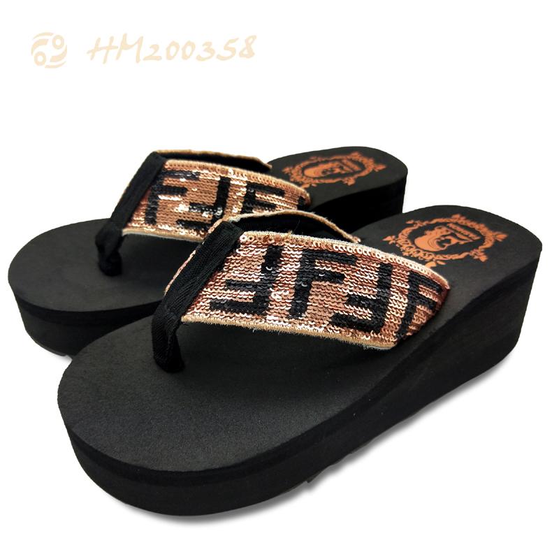 Women High Heel Platform Sandals Sequins Wedge Flip Flops