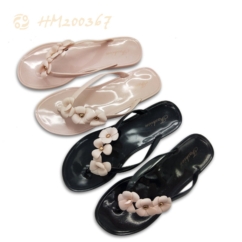 Women PVC Flower Flip Flops Lightweight Slipper Sandals for ladies