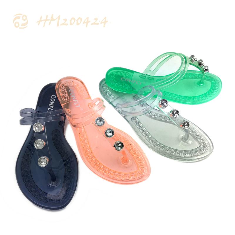 Fashion Women PVC Thong Sandals Ladies Flat Jelly Sandals