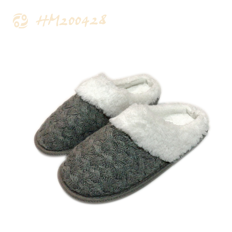 Fashion Women Knitting Slippers Soft Plush Winter Home Shoes for Men