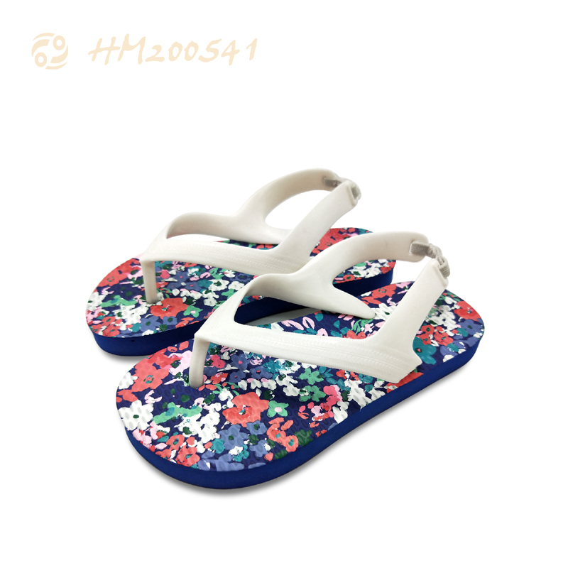 Printing Kids Sandals Fashion Flat Flowers Thong Shoes for Children