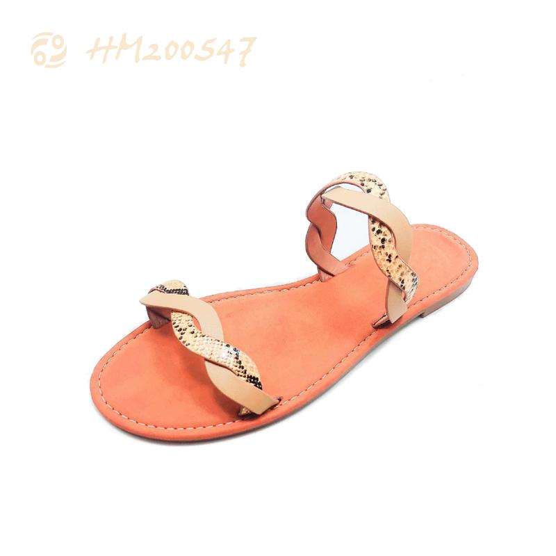 Fashion Women Leather Slides Shoes Ladies Serpentine Slip-on Sandals