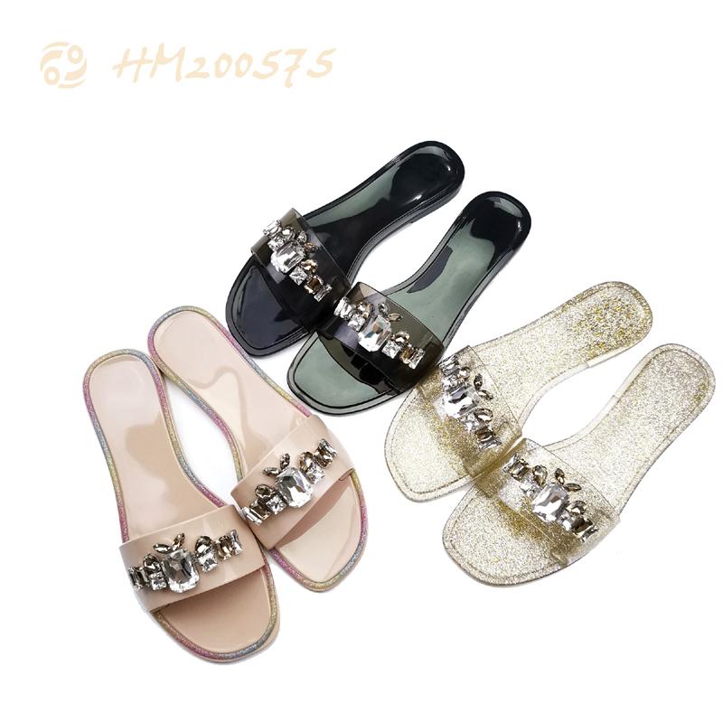 Fashion Women Rhinestone Slides Sandals PVC Outdoor Slippers
