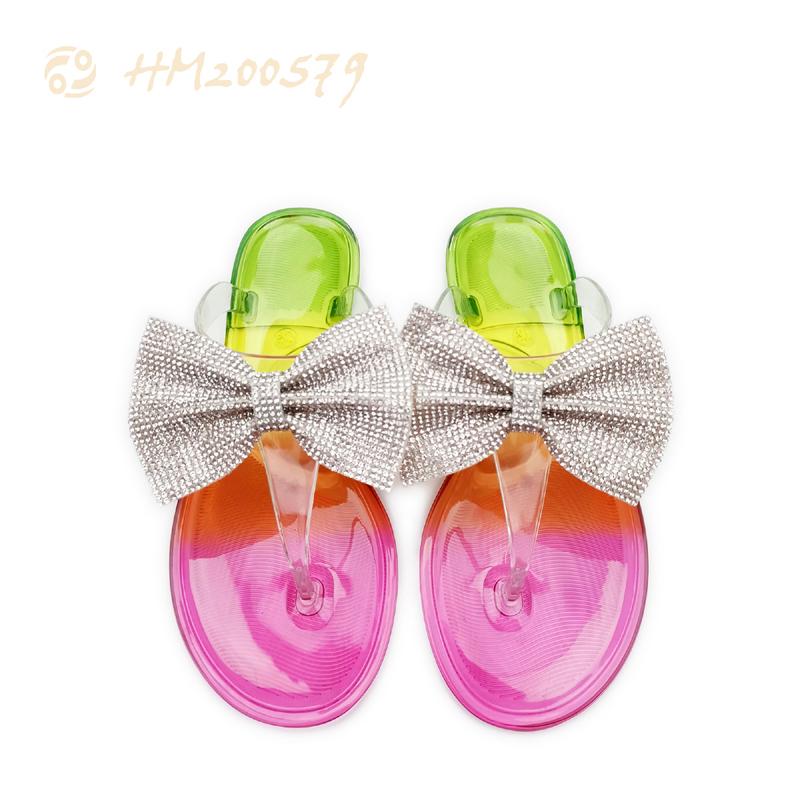 Rainbow Ladies Thong Flip Flops Bow-tie Slippers Rhinestone Sandals