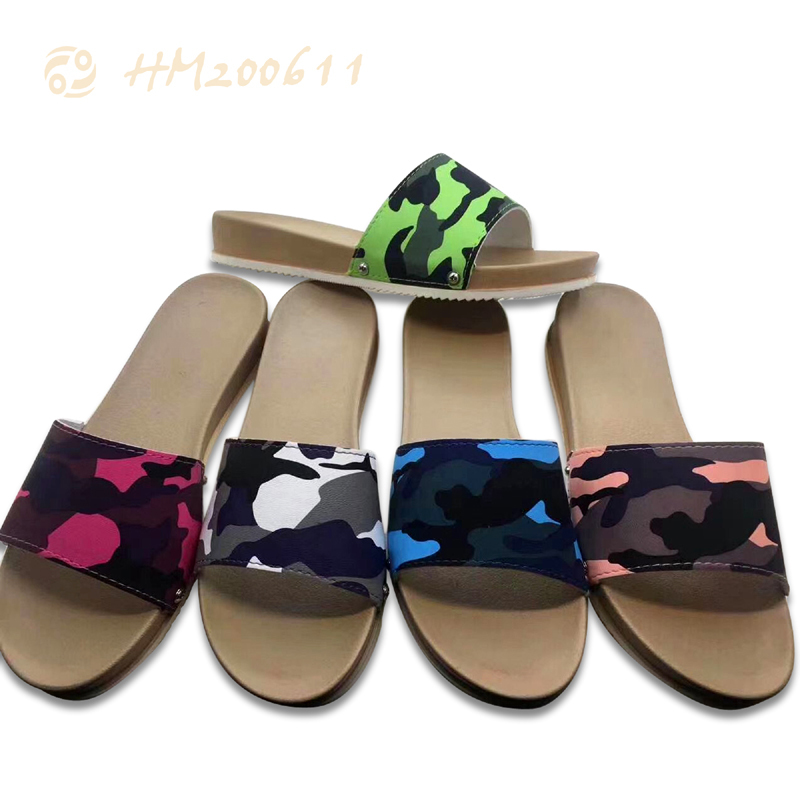 Fashion Women Printing Slide Sandals Casual Slip-on Camouflage Wedge Sandals