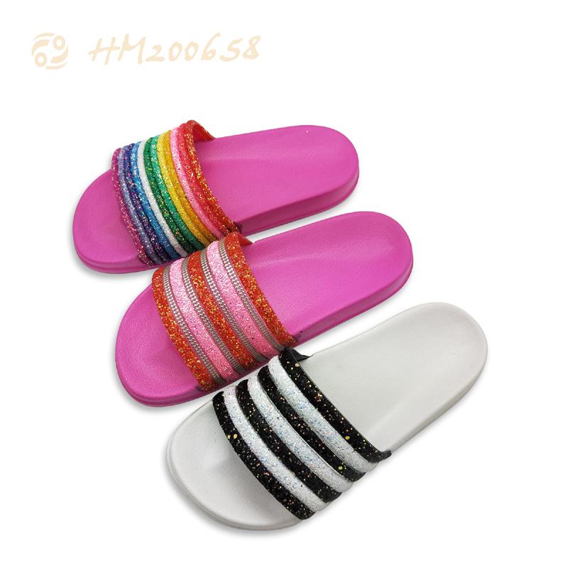 Women Glitter Slipper Sandals Customized Logo Slides Shoes for Ladies