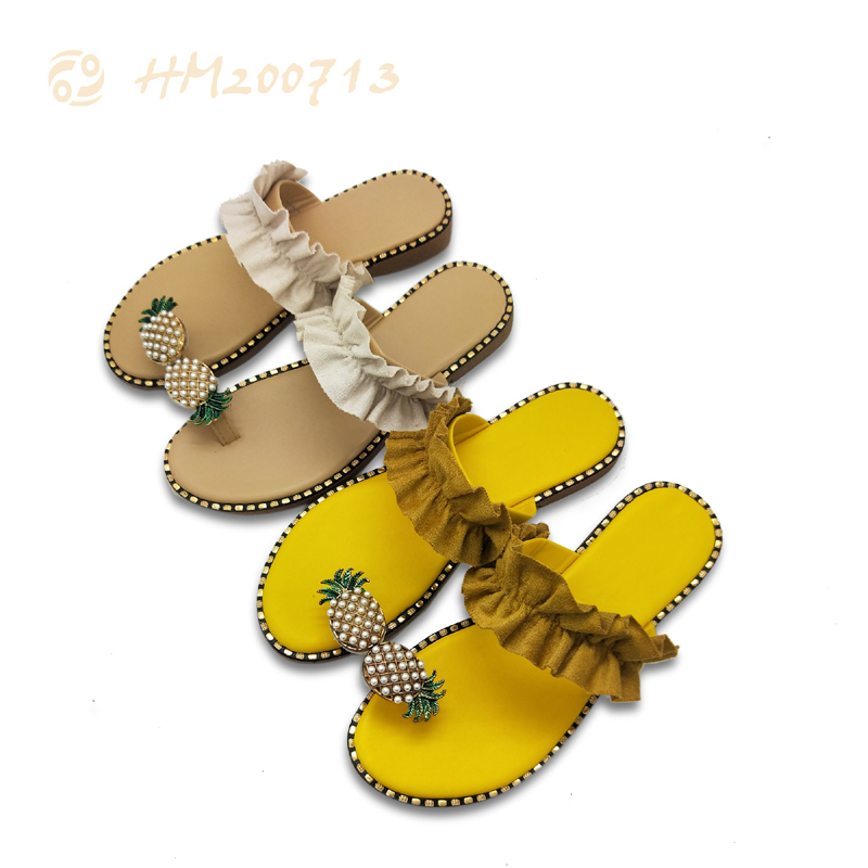 Wholesale Women Fashion Sandals Slip-on Casual upper with pearl decoration Slipper Shoes