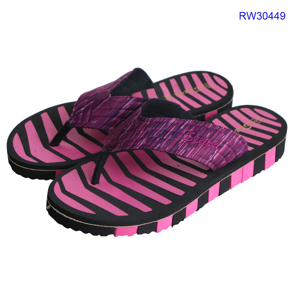 Fashion Women Striped Wedge Slippers Lightweight EVA Thick Bottom Flip Flops