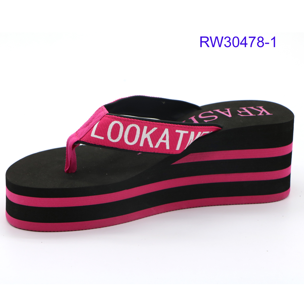 New Design Women High Heel Slippers Customized Logo Striped Flip Flops