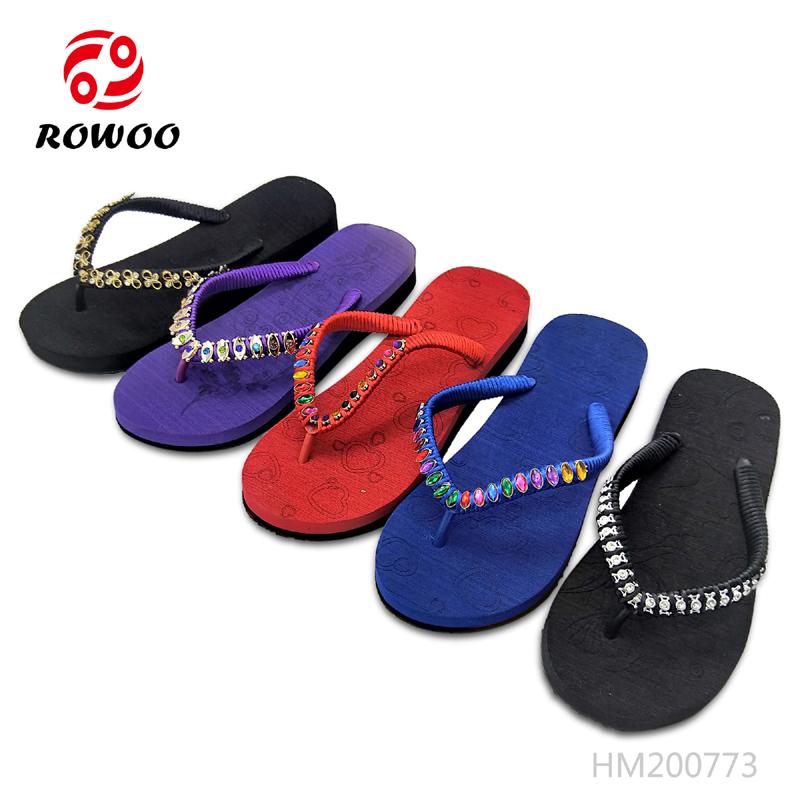 Cheap Women Bead Thick Bottom Slippers EVA Light Ladies Outdoor Sandals