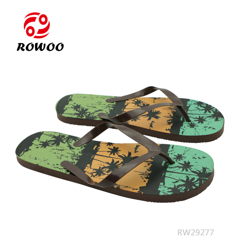 Rowoo mens black flip flops factory price