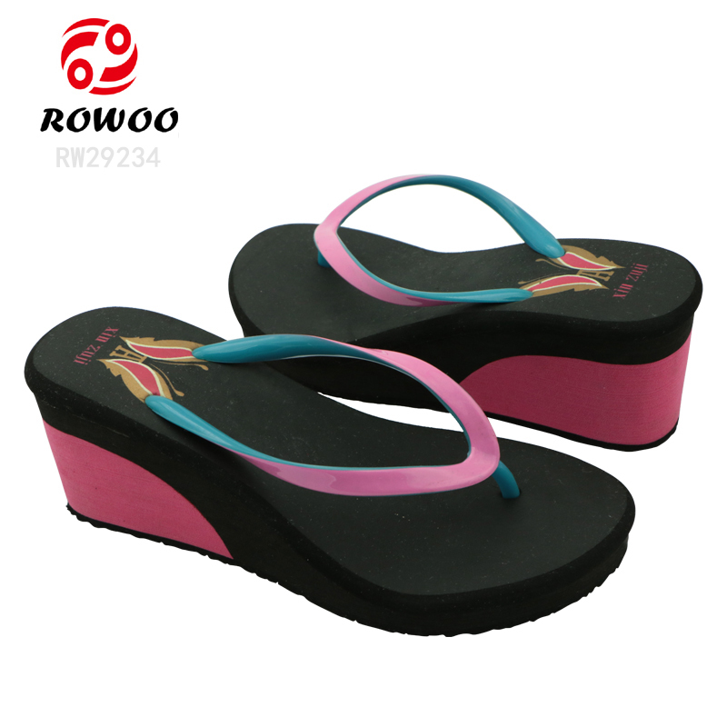 New Design Women High Heel Sandals Customized Wedges 10 cm Heel Flip Flop Sandals