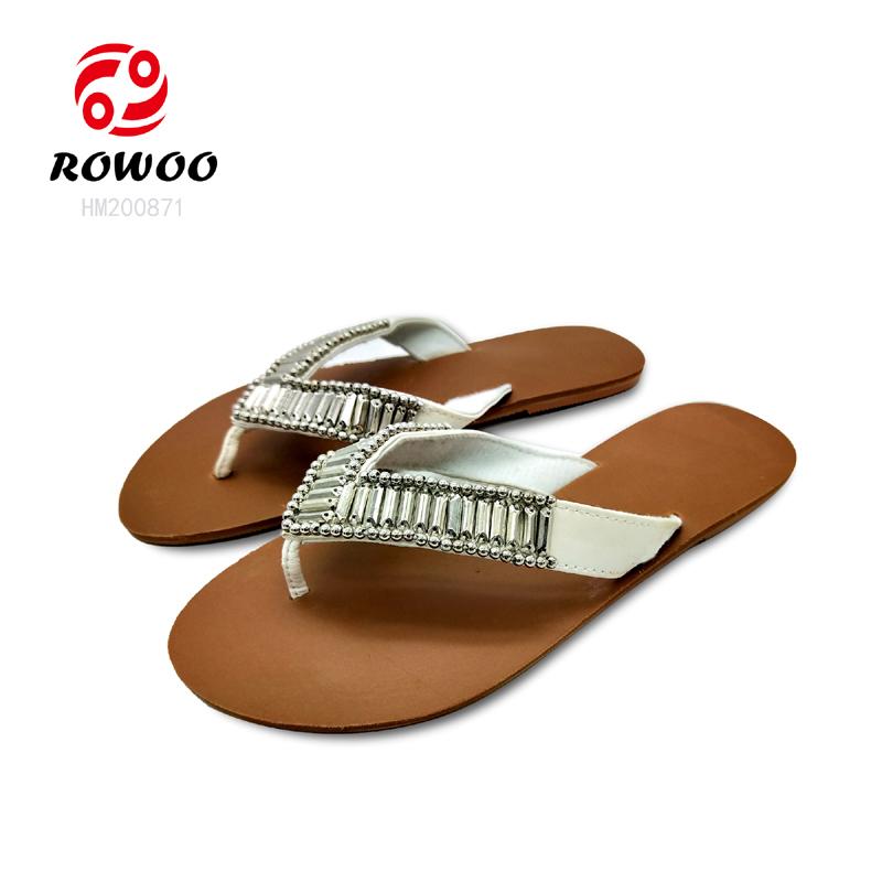 whole sale women Flip Flop PU diamond upper  fashion slipper anti slippery  sandal