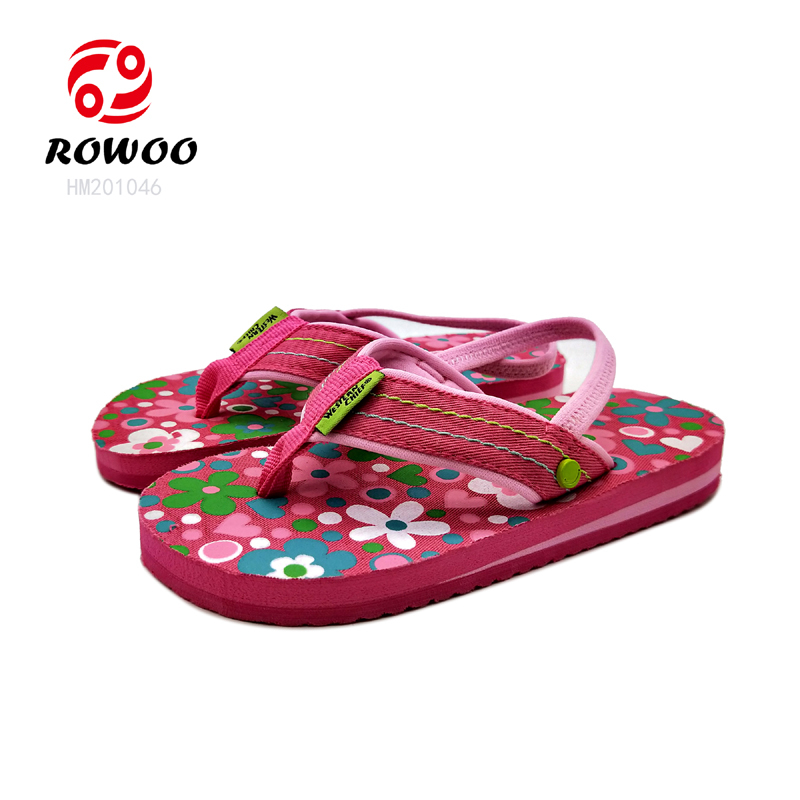 Hotsale EVA light sandal anti slip flipflop cheap colorful print cute baby kids slippers