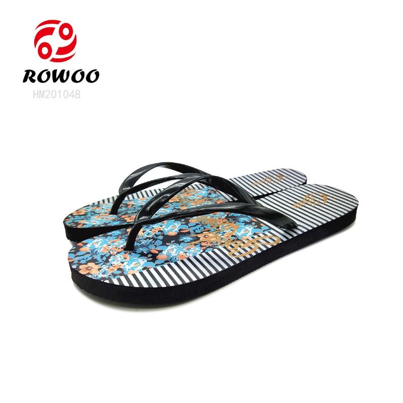 wholesale PVC strap EVA sole insole printing luxury slipper comfortable Fashion flipflop for women