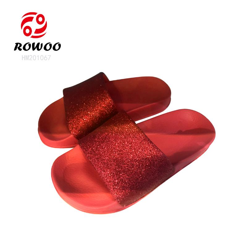 Customized PU gliter upper durable sole flipflop cheap light sandal luxury girl kids slide Slippers
