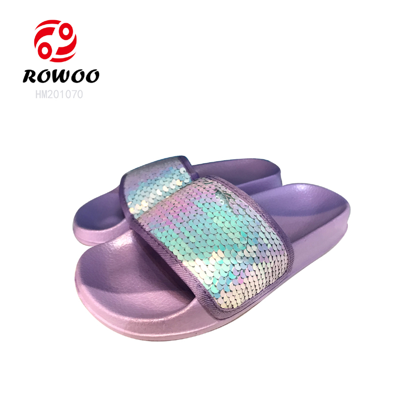 Customized diamond PU upper durable sole flipflop cheap light sandal luxury girl kids comforty Slippers