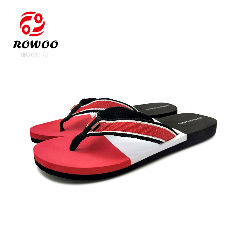 China Customized textile strap EVA sole sandal Fashion cheap beach slippers for men