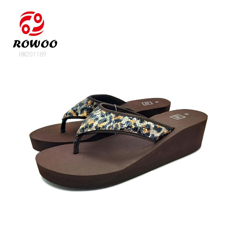 top quality ladies pearl upper  sandal wedge high heel EVA beach summer flipflop for women